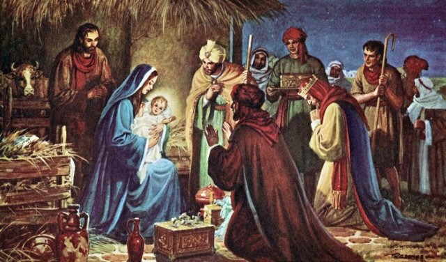 Wisemen from the East gave gifts of gold, frankincense and myrrh.